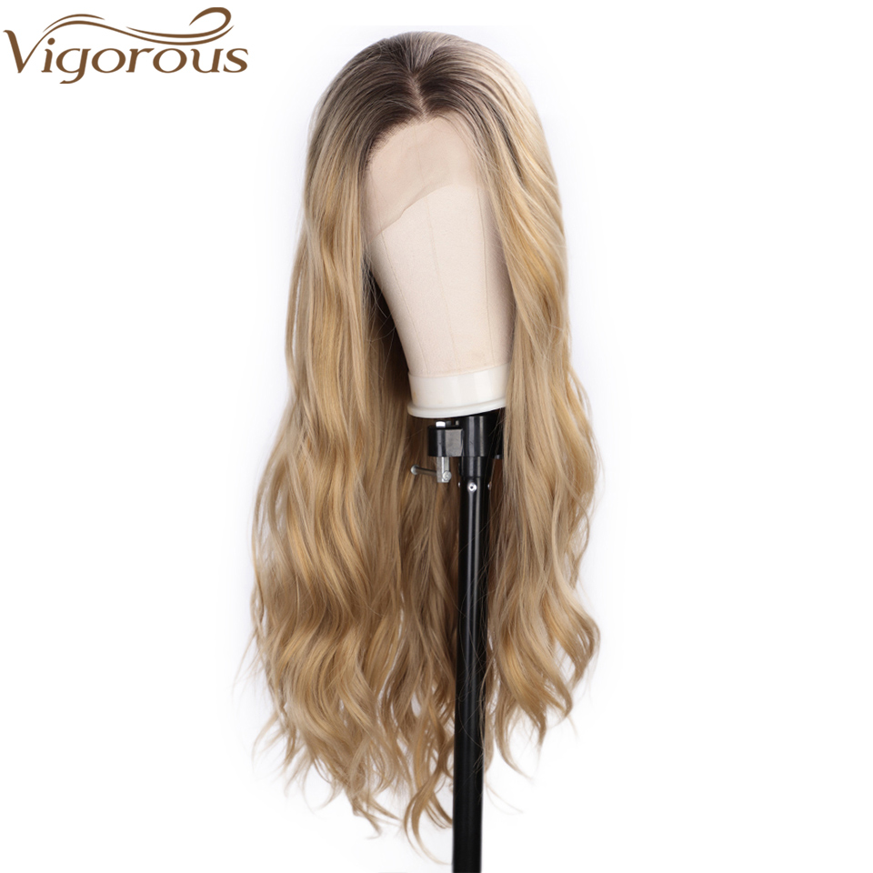 Vigorous Long Wavy Blonde Ombre Lace Front Wigs For Women Synthetic Dark Brown Roots Wig For Daily&Party Use Mixed Color Hair