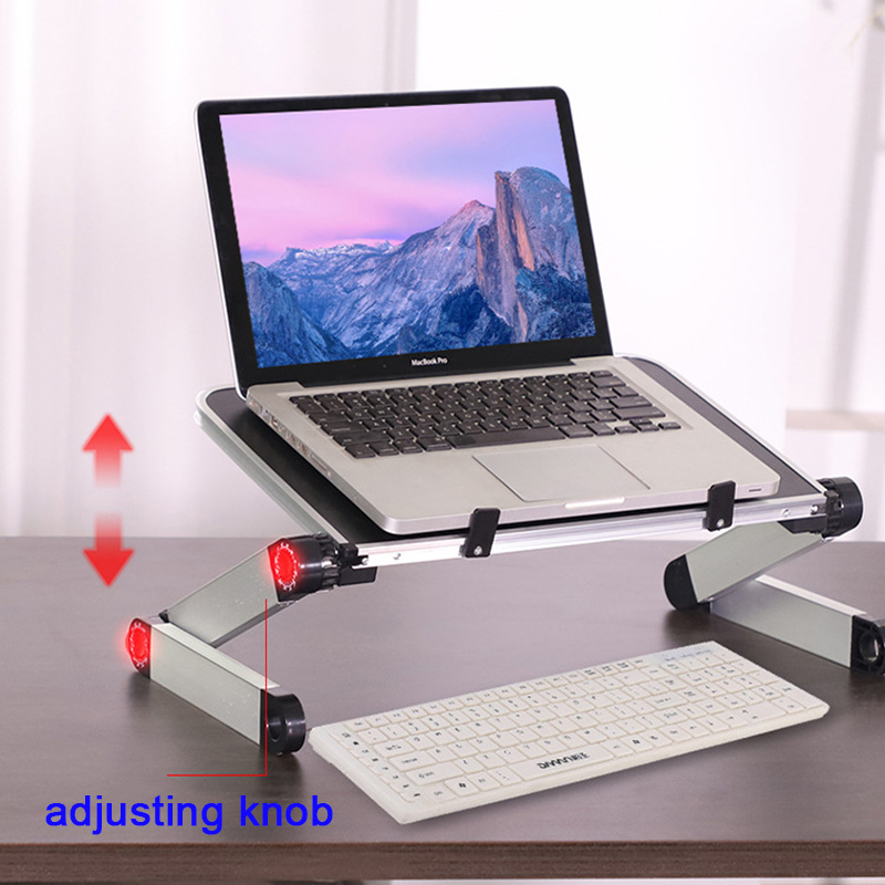 HobbyLane Alloy Laptop Stand Portable Foldable Adjustable Laptop Desk Computer Table Stand Tray Notebook PC Folding Desk D20
