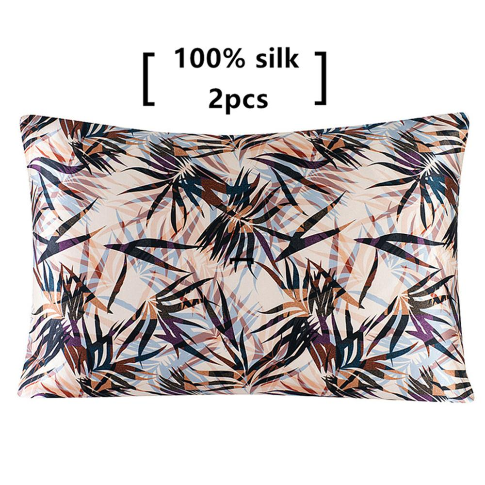 1 Pair 100% Mulberry Silk Pillowcase with Hidden Zipper Super Quality Nature Floral Pillow Case for Sleep and Skin Care