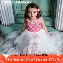 High Low Flower Girl Dress 2020 New Style Sequins Ballroom Dresses for Wedding Party Perform Kids Clothes E17128