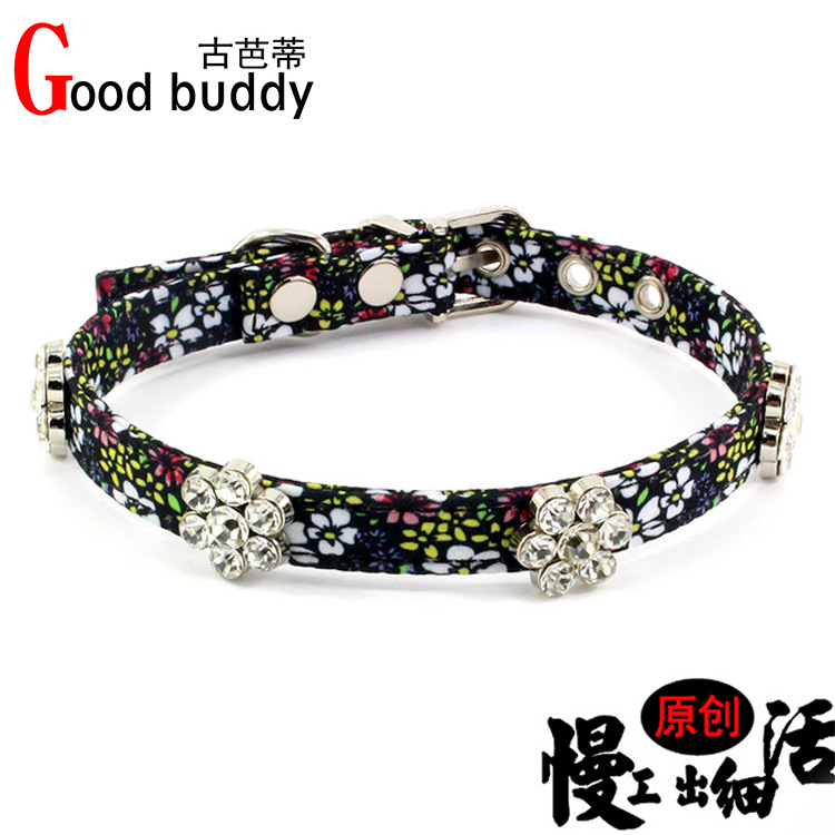 Luxury Pet Collar Man-made Diamond Flower Dog Neck Lanyard Small And Medium-sized Dogs Neck Band Pet Supplies Traction Belt
