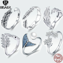 BISAER 925 Sterling Silver open finger ring Vintage Style Leaves Clear CZ Adjustable Rings for Women S925 Silver Jewelry Gift licliz 925 sterling silver cz crystal v shape cuff rings for women white gold open adjustable ring jewelry clear