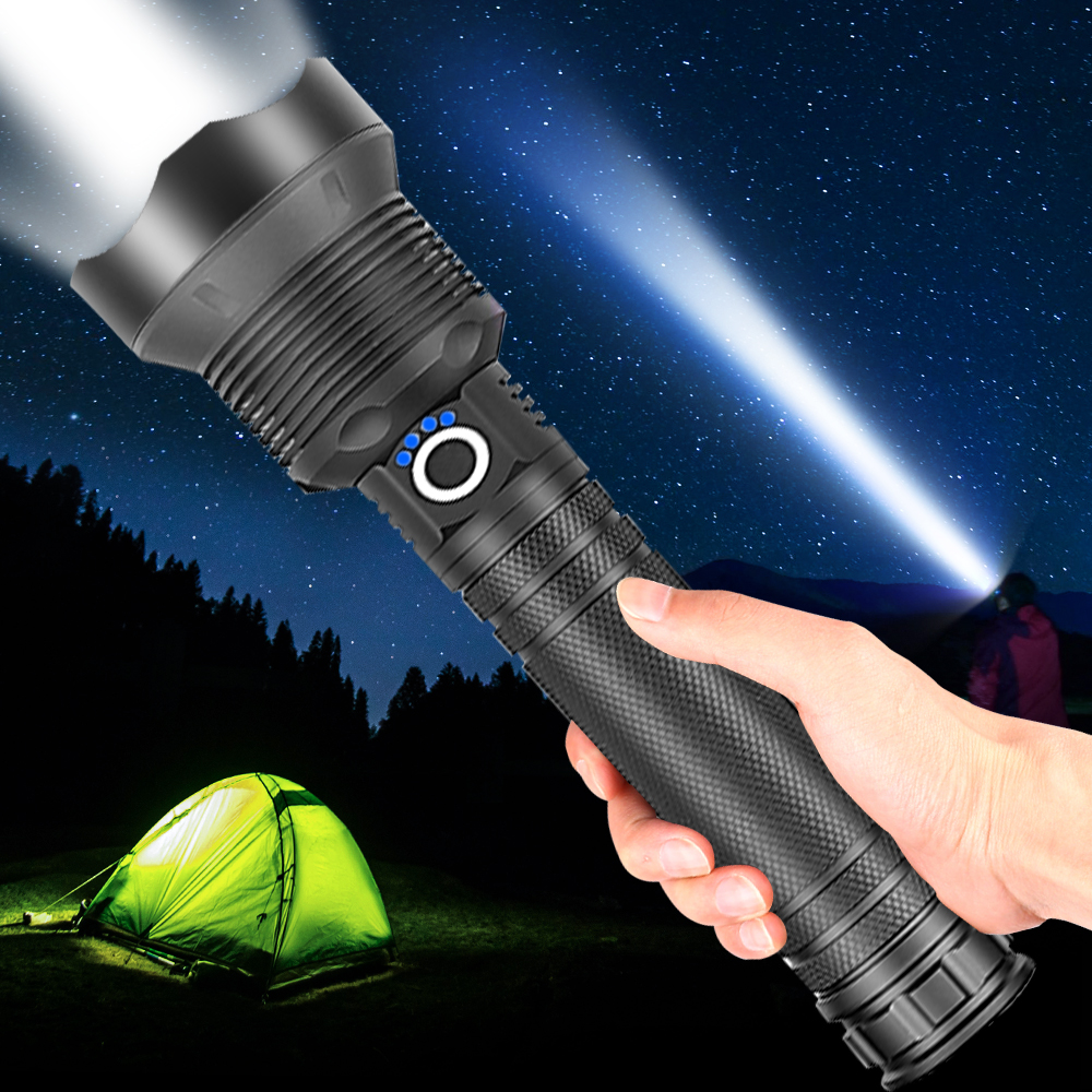 150000lm XHP70.2 Powerful LED Flashlight XHP50 USB Rechargeable Zoom Waterproof Torch 18650 26650 For Hunting SelfDefense Lamp