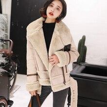 2019 Winter Warm Jacket Women Suede Slim Elegant Rabbit Fur Thick High Street Coat with Sashes