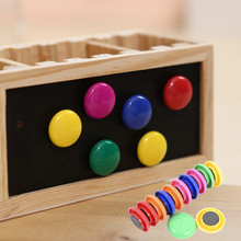 6pc 30mm Round Writing Board Magnet Plastic Kids Gifts Colorful Magnets for Refrigerators Home School Decoration Display Holder