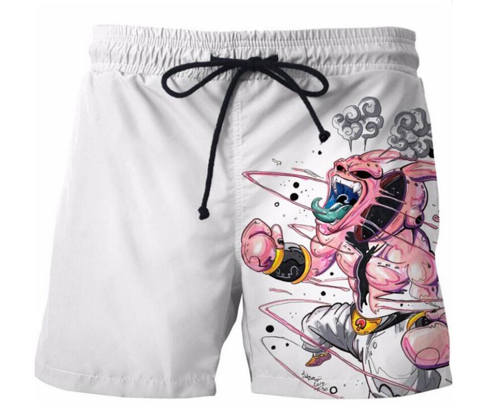 Beach Sports Swim Shorts Homme Pants Men Fast Dry Dragon Ball Evil Majin Buu Print Loose Sweatpants Bathing Suit Trunks 2020