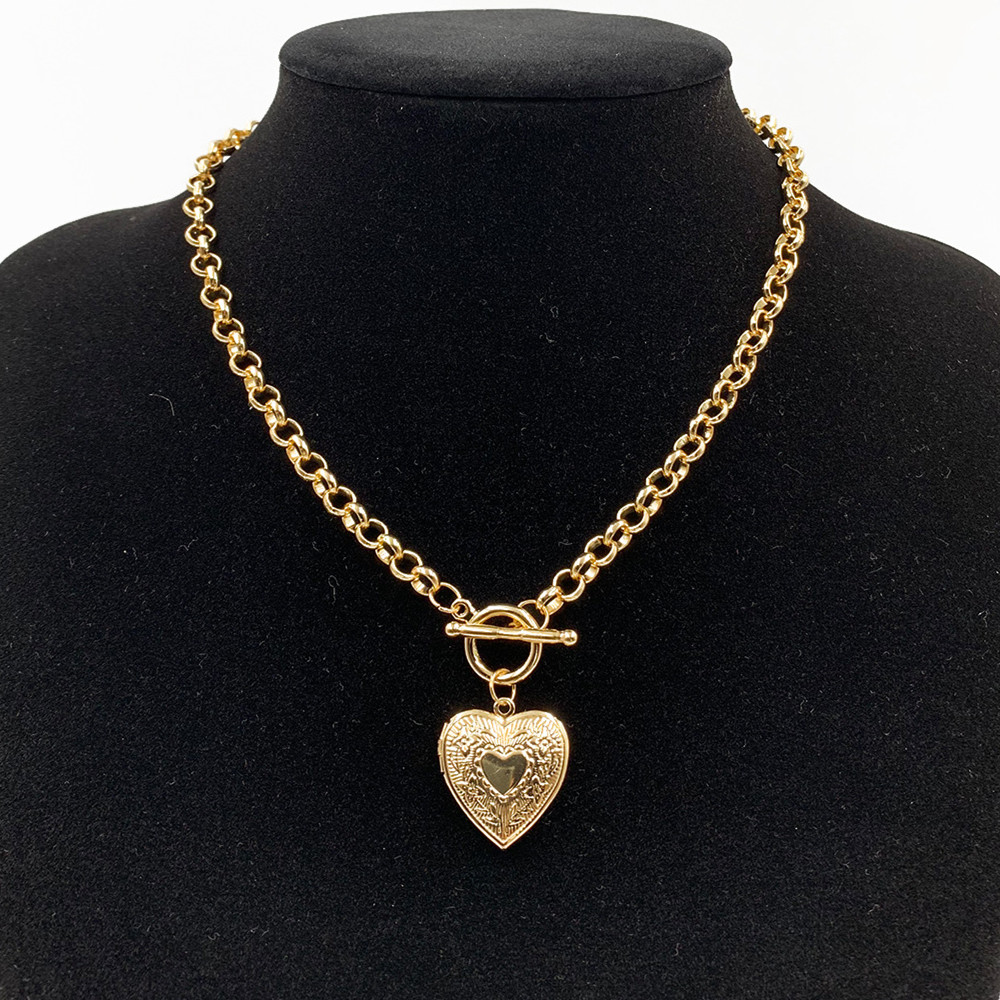 Ожерелье DIEZI с подвеской в виде сердца для мужчин и женщин, украшение в стиле панк с золотым и серебряным покрытием, простой винтажный геомет...