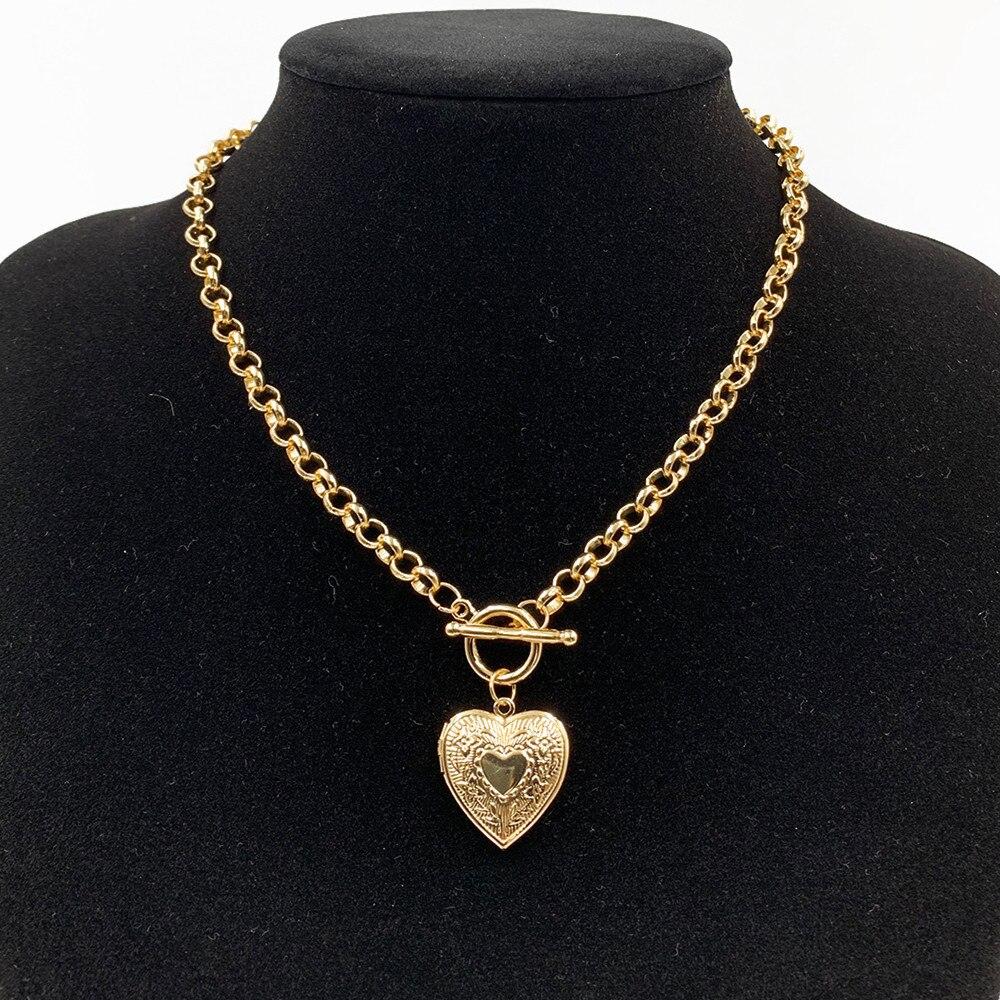 DIEZI 2019 Punk Gold Silver Plated Heart Pendant Necklace For Women Men Vintage Simple Geometric Statement Link Chain Necklace