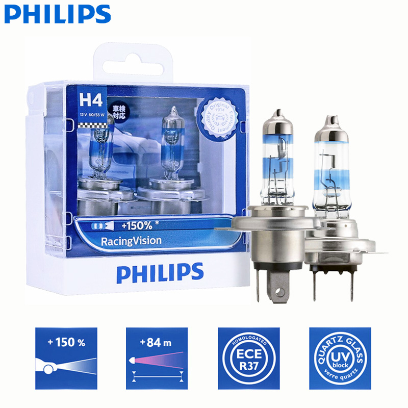 chrome Philips RacingVision twin pack 150/% H7 headlight bulb 12972RVS2