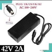 36V מטען RCA 10mm תקע לוטוס מחבר פלט 42V 2A חשמלי אופני Powerboard סוללת ליתיום מטען קטנוע