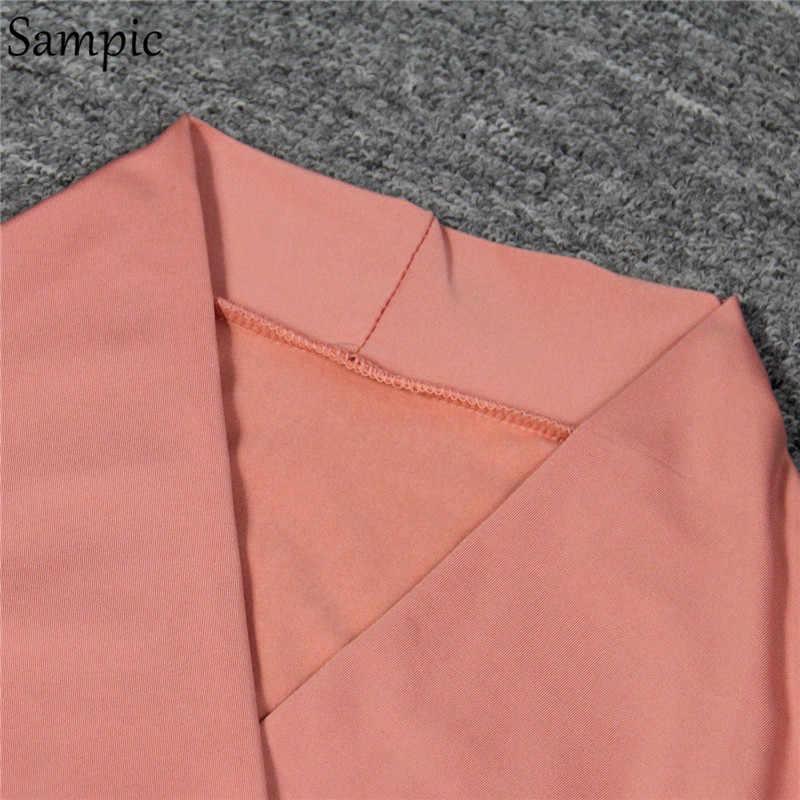 Sampic Bodycon סקסי מועדון המפלגה שמלה אדום ורוד שחור סתיו שמלת נשים ארוך שרוול אלגנטי גבירותיי שמלות