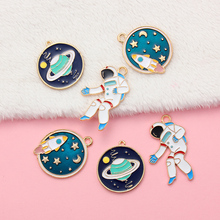 10pcs Mixed Styles Astronaut Planet  Enamel Pendants Charms For DIY Earring Necklace Bracelet Alloy Fashion Jewelry Findings free shipping 10pcs mixed random color alloy enamel trojans charms pendant for diy fashion jewelry findings