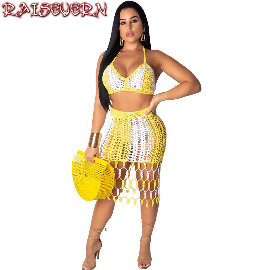 RAISEVERN Skirt Suits Two Piece Matching Set Hand Knit Fishnet Hollow Sexy 2 Piece Outfits For Women Summer Crop Top And Crochet