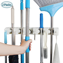broom and mop holder wall mounted Storage cleaning Tools Commercial Rack closet organizer tool hanger for Garden
