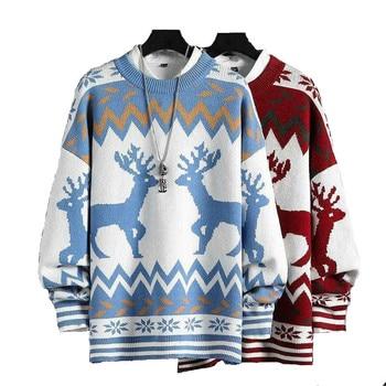 Winter Men's Raglan Sleeve Sweaters Christmas Elk Pattern Pullover O Neck Warm Knitted Jumper Autumn Clothing for Dropshipping gauzy raglan sleeve crane pattern tied dress
