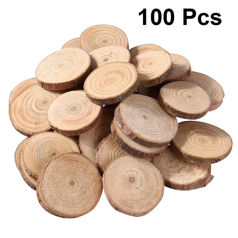 100Pcs Pine Wood Slices Double-sided Natural Round Wood Chips DIY Handmade Home Decoration Photograghy Props