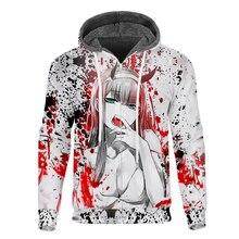 Cloudstyle Winter Mens Fleece Hoodies 3D printed Anime Zero Two Waifu Hooded Pullovers Hoodie Long Sleeves Coat Streetwear
