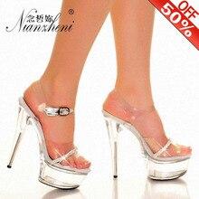 цены Sexy 15 CM High-Heeled Sandals Nightclub Dance Shoes Women's Dress Transparent Platform Crystal Pole Dancing Model High Heels