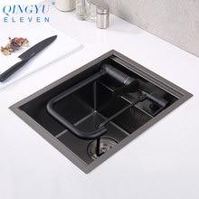 Novo nanômetro preto 304 de aço inoxidável artesanal cozinha barra contador pia capa escondida única cozinha tamanho pequeno pia da cozinha