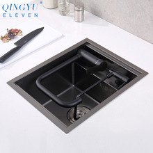 Sink-Cover Counter Kitchen-Sink Black Small-Size 304-Stainless-Steel Handmade Hidden