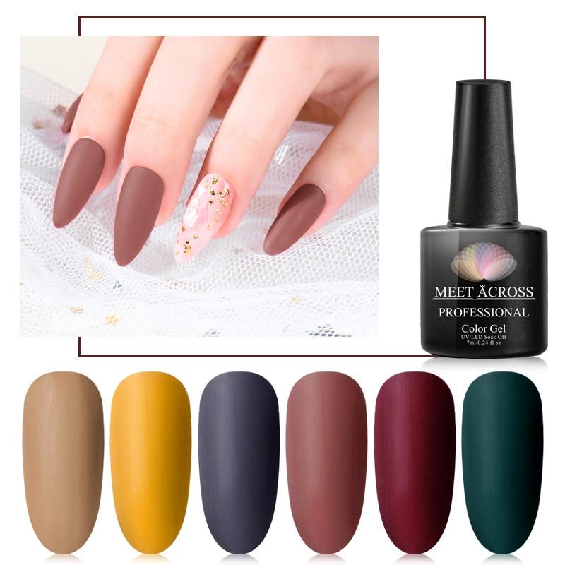 MEET ACROSS Pure UV Gel Nail Polish Need Matte Top Coat Uv Gel Nail Art Varnish Hybrid Soak Off Gel Lacquer Manicure Gel Polish