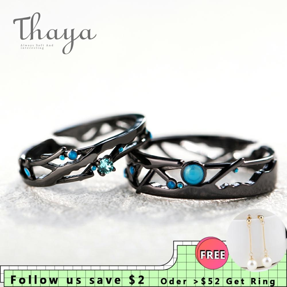 Thaya CZ Milky Way Black Rings Blue Bright Cubic Zirconia Rings 925 Silver Jewelry for Women Lover Vintage Bohemian Retro GiftRings   -