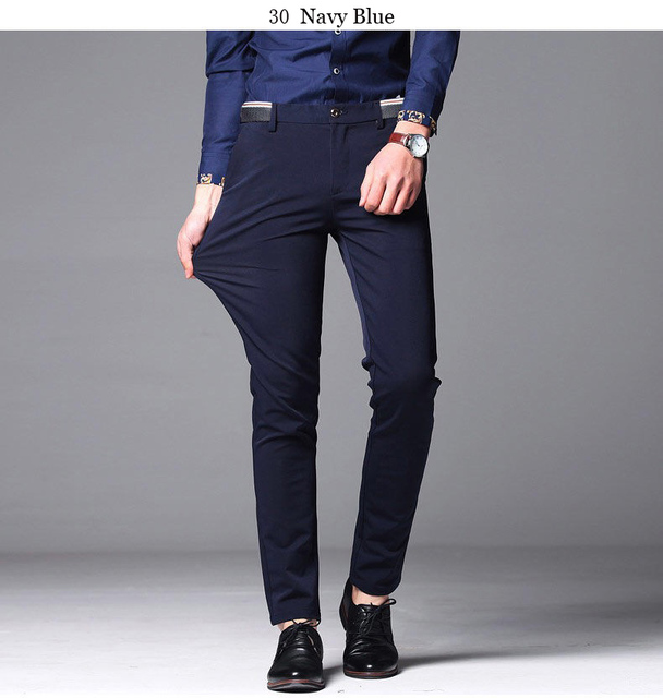 Men's Suit Pants Spring and Summer Male Dress Pants Business Office Elastic Wrinkle Resistant Big Size Classic Trousers Male 4