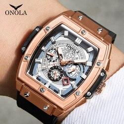 ONOLA tonneau square big quartz watch man lumious chronograph wristwatch fashion casual style luxury man watch relogio masculino