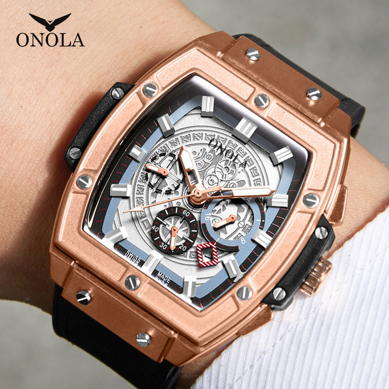 ONOLA Tonneau Square Big Quartz Watch Man Lumious Chronograph Wristwatch Fashion Casual Style Luxury Man Watch Relogio Masculino
