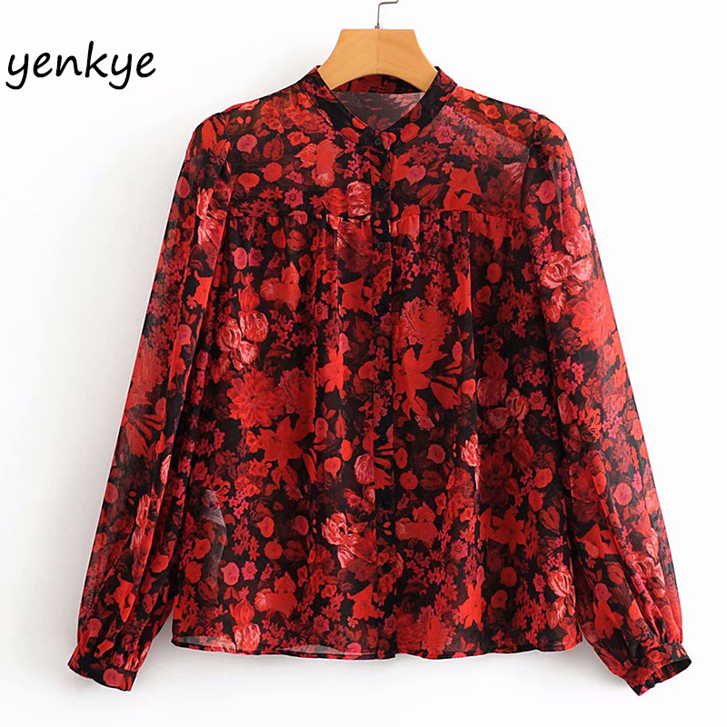 Vintage Floral Print Chiffon Blouse Shirt Women Long Sleeve Stand Collar Sexy Semi-Sheer Plus Size Tops Blusas AAZZ9640