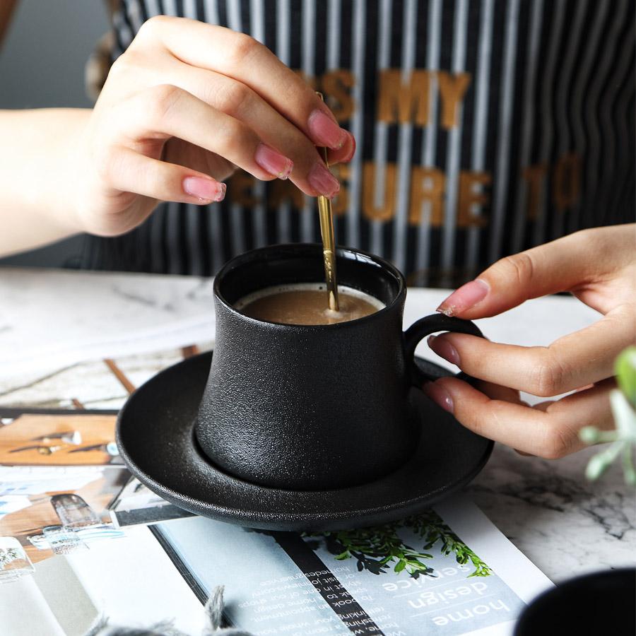 1 WUSYO Chine Tasse Tasses /à th/é Noir en plaqu/é Or dor/é Porcelaine /él/égante Tasse /à caf/é et Soucoupe Mugs en c/éramique Demitasse Luxe