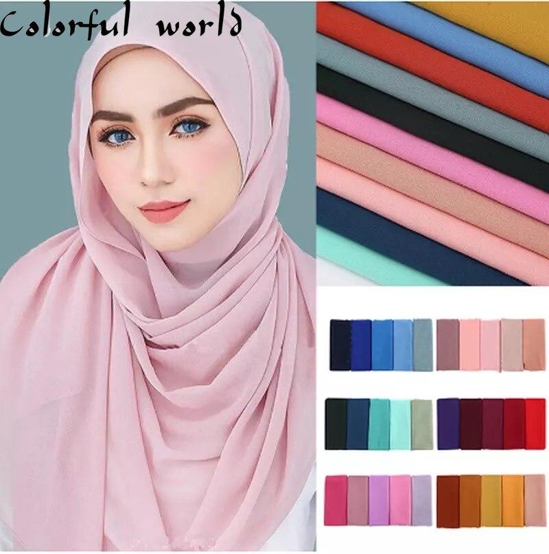 Pearl Chiffon Monochrome Bubble Scarf Scarf Selling High Quality Ethnic Malay Scarf New Hijab Scarf  Muslim Dress  Muslim Scarf