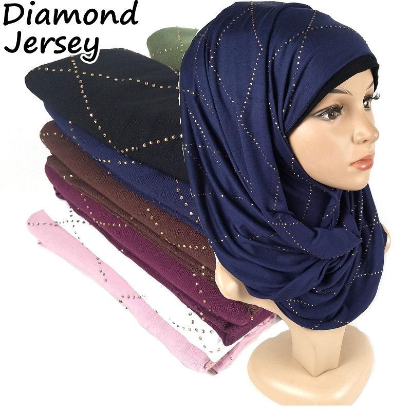 10pcs Jersey Cotton Muslim Scarf Hijab Rhombus Diamonds Women's Islamic Modesty Turban Long Shawl Wrap Soft Headscarf 180x80cm
