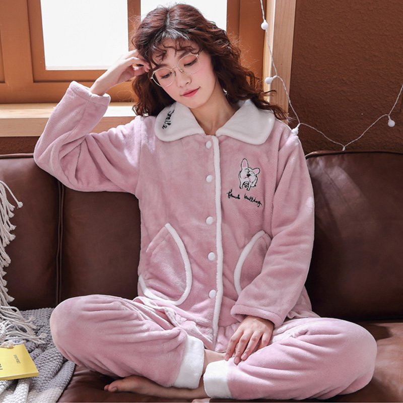 Plus Size 3XL 4XL 5XL Pyjamas women winter new Korean kawaii pink coral fleece warm pajama set thick flannel pijama home service 125