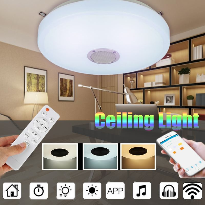 Modern 48W Led ceiling Light Blue tooth Music ceiling lamp Color Dimmable APP remote control for living room/bedroom AC220V|Ceiling Lights| |  - title=