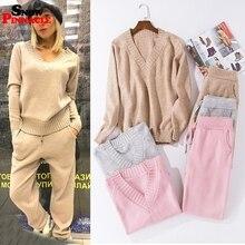 Conjuntos de chándales con cuello en V para mujer, jerséis + juegos de pantalones largos, suéter de punto suave y cálido, chándal