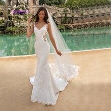 Robe de mariee nova chegada simlple beading vestidos de casamento 2021 sereia bordado apliques vestidos de casamento noiva