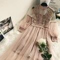 Кружево Платье с цветочным рисунком фонарь размера плюс вечерние платье для женщин из сетчатой ткани с длинным рукавом Длинная юбка из тюля...