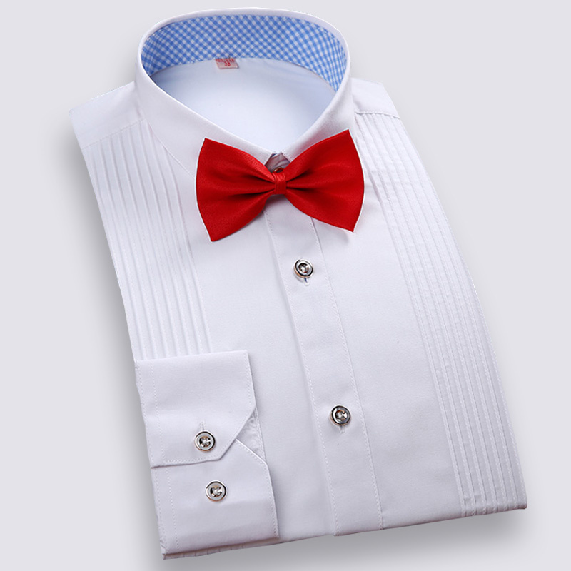 Men Tuxedo Shirts Slim Fit Long Sleeve Solid Multiple Colors Wedding Brideroom Formal Tops  Bow Tie Included