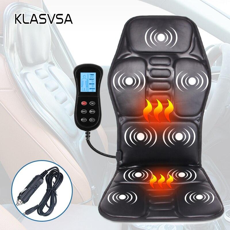 Klasvsa vibratório de aquecimento elétrico volta massageador cadeira no escritório em casa do carro lombar pescoço colchão alívio da dor led controle remoto