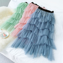 Fall Winter Long Skirts New Pure Mesh Patchwork Cake Skirt Sweet Women High Waist 5 Layers Casual Tulle Fairy