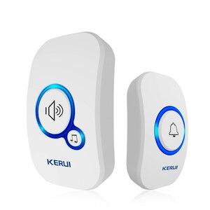 Image 2 - Kerui sem fio inteligente campainha alarme de segurança em casa bem vindo campainha led luz 32 músicas com botão à prova dwaterproof água fácil instalação
