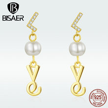 BISAER Baroque Pearl Earrings 100% 925 Sterling Silver Golden Love Earrings For Women Vintage Accessories Fashion Jewelry GAE103 everoyal vintage crystal pearl earrings for women accessories trendy 925 sterling silver earrings jewelry female geometric bijou