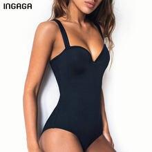 INGAGA – maillot de bain une pièce, Push-Up, noir, solide, body, baigneuses, Sexy, vêtements de plage, nouvelle collection, 2021