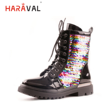 HARAVAL Luxury Fashion Children Ankle Boots Quality Patent Leather Round Toe Low Heel Shoes Bling Lace up Soft Casual Girl