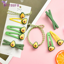 YYOUFU The Simple Network Red Avocado Hair Rope Hairpin Set Student Cute Girl Small Clip Head Rubber Band Accessories