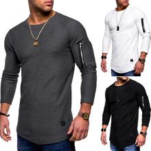 brand O-neck Solid Polyester T Shirt Men Spring Autumn Arend Cotton Long-sleeved shirt  High Quality Fold T-shirt
