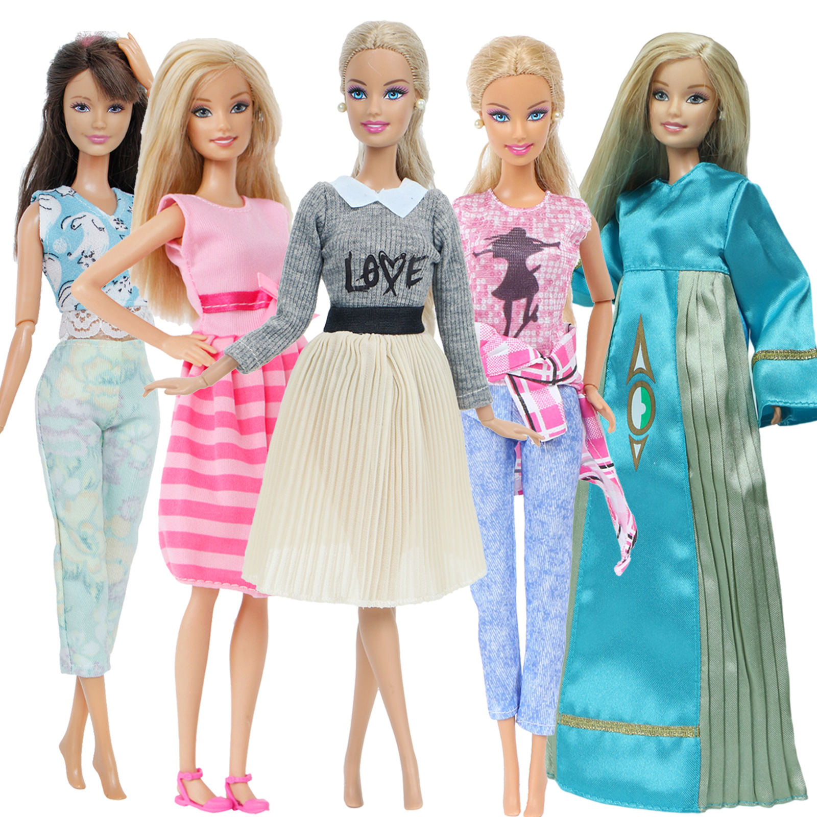 5 Pcs / Set Handmade Doll Outfit Mixed Style Mini Dress Pants Tops Coat Gown Daily Clothes For Barbie Doll Accssories Kids Toy