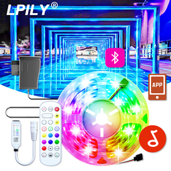 5050 LED Strip Ribbon LED Light Strips Waterproof RGB Tape Music Bluetooth Remote With 220V 12V Power Adapter Smart Lighting