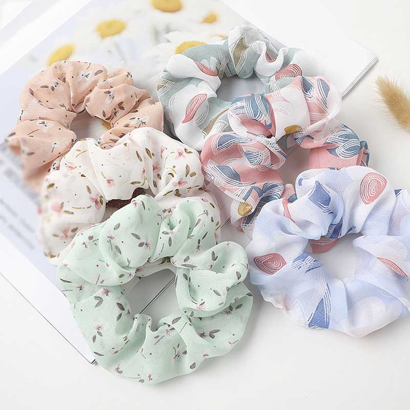 Korean Women Hearwear Girls Hair Tie Striped Lady Scrunchies Ponytail Hair Female Holder Rope Flower Print Hair Accessories